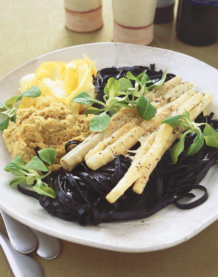 Squid ink pasta with scorzonera au gratin (Italy)