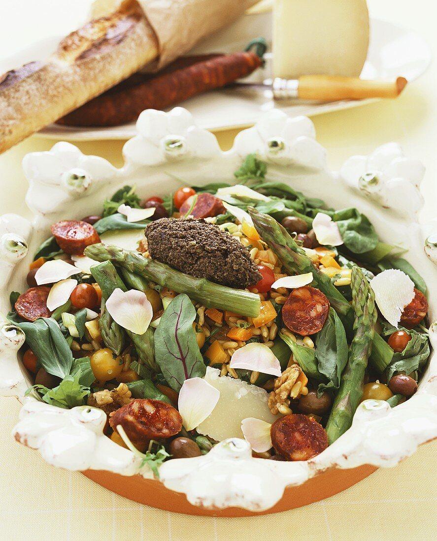 Insalata con il farro (Spelt salad with vegetables, salami & cheese)