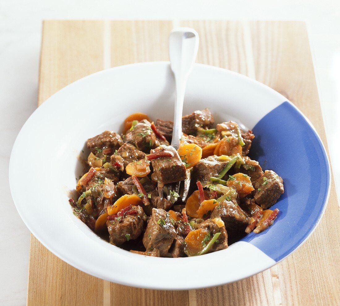 Bavarian Bierfleisch (beef in beer) with ham & carrots