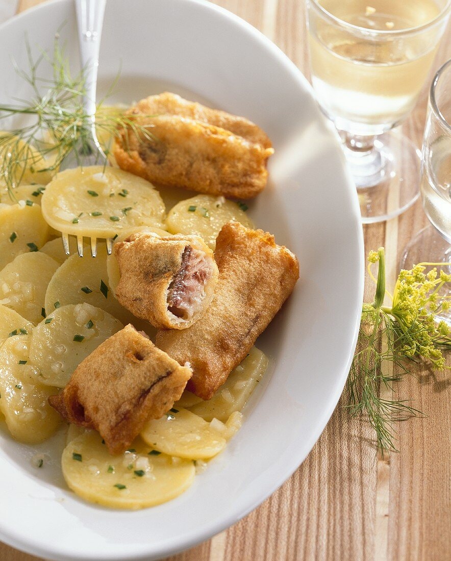 Carp fillets in beer batter with potato salad
