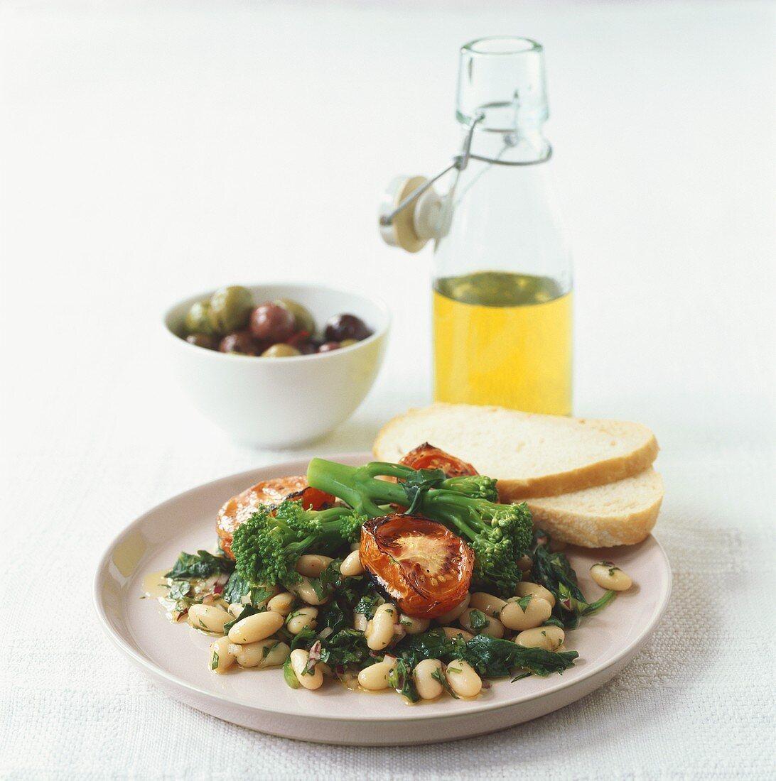 Insalata di fagioli (Bean salad with white bread & olive oil)