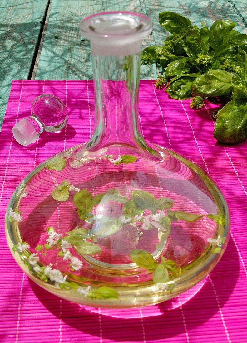 Basil vinegar in carafe
