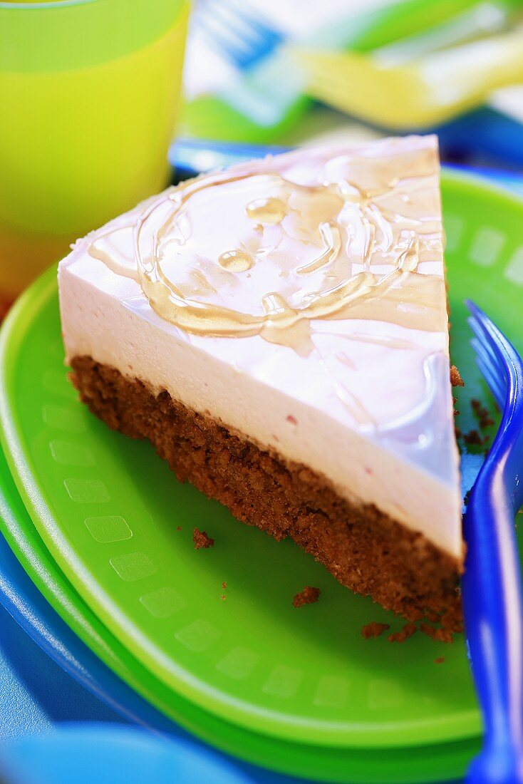 Piece of cream cake for a child