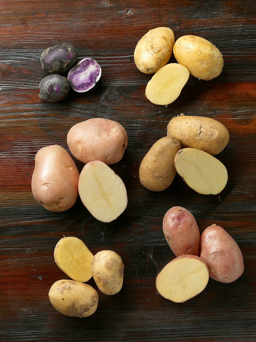 Various types of potatoes (overhead view)