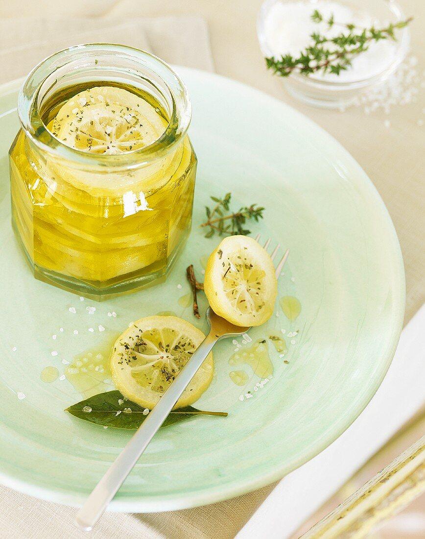 Pickled lemons with olive oil and salt (Morocco)