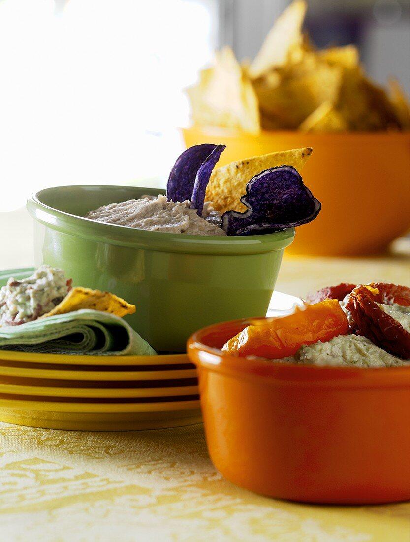Tuna dip and ricotta and pesto dip with tortilla chips
