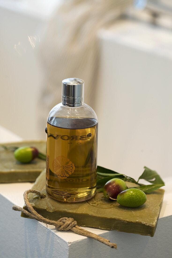 Olive soap, bath additive and fresh olives
