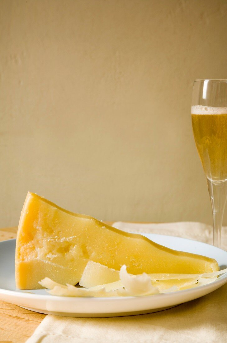Parmesan and a glass of vintage champagne