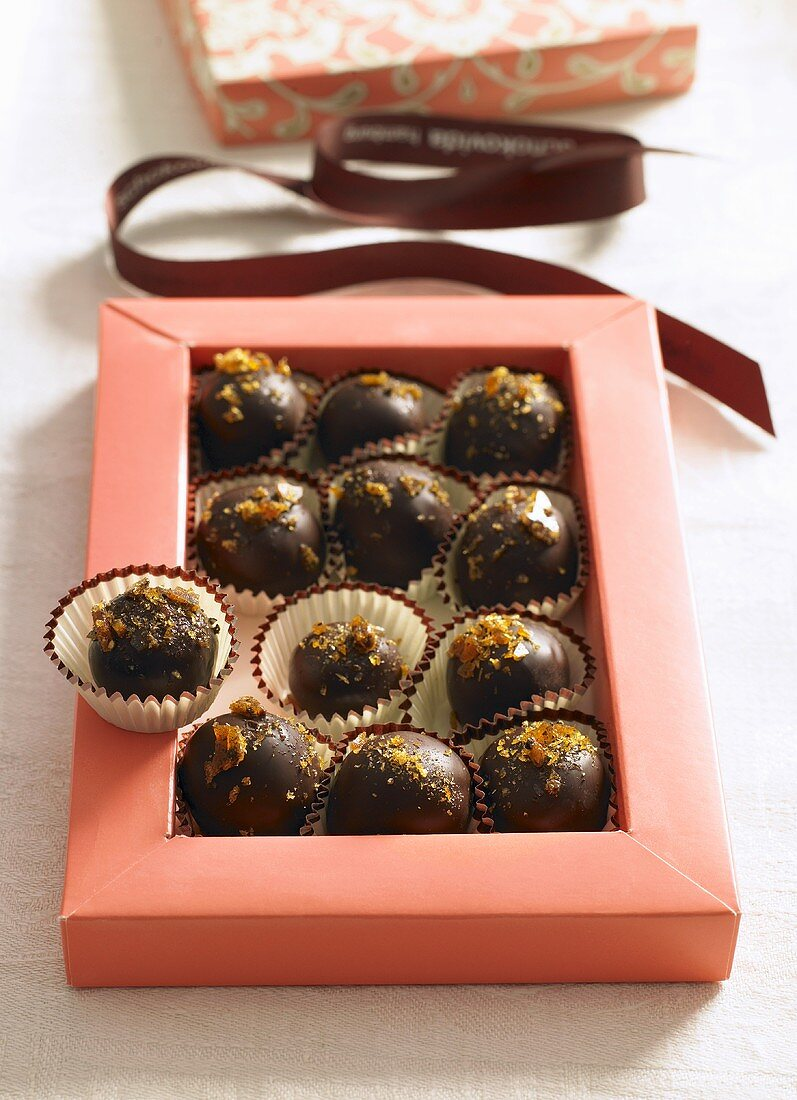 Chocolate pralines with pepper