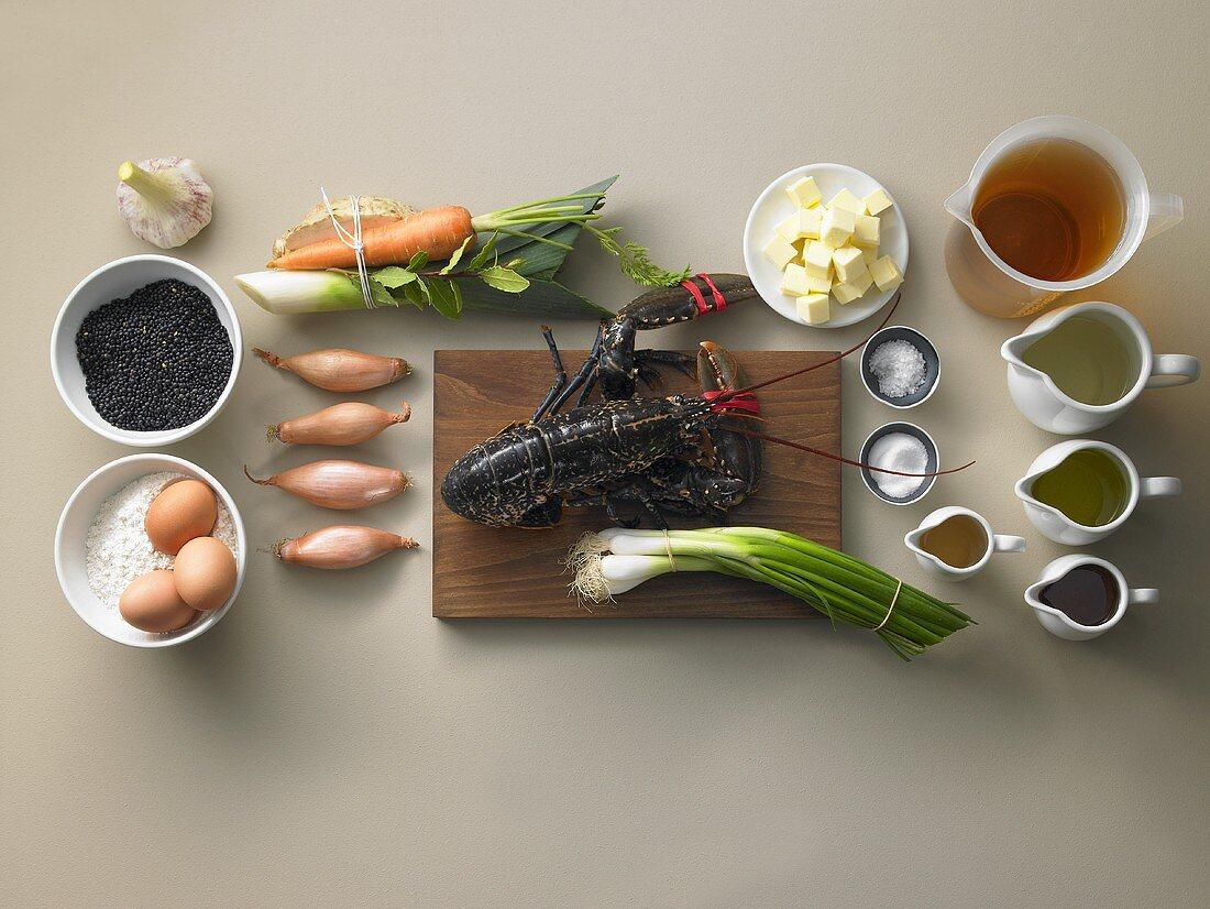 Ingredients for black lentil soup with lobster and Spätzle (soft egg noodles from Germany)