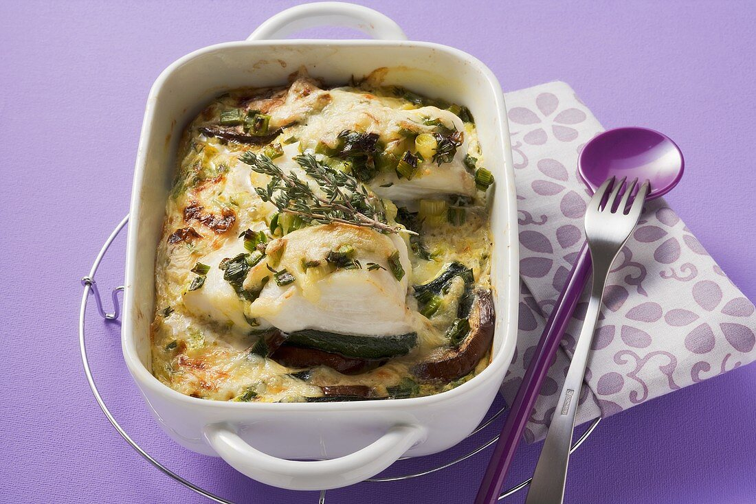 Summer vegetable and fish bake