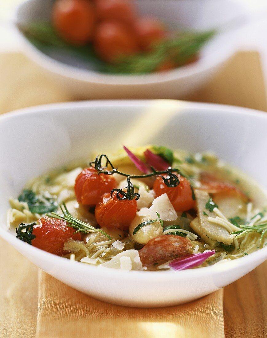 Minestrone con i carciofi (vegetable soup with artichokes)