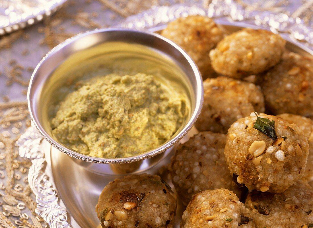 Sabudana wada (sago and potato balls, India) with dip