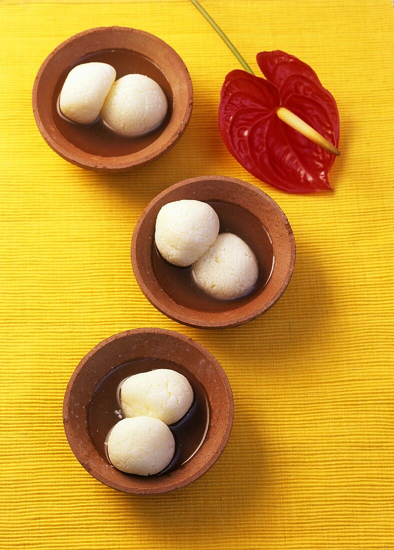 Rasgulla (Sweet cheese balls from India)
