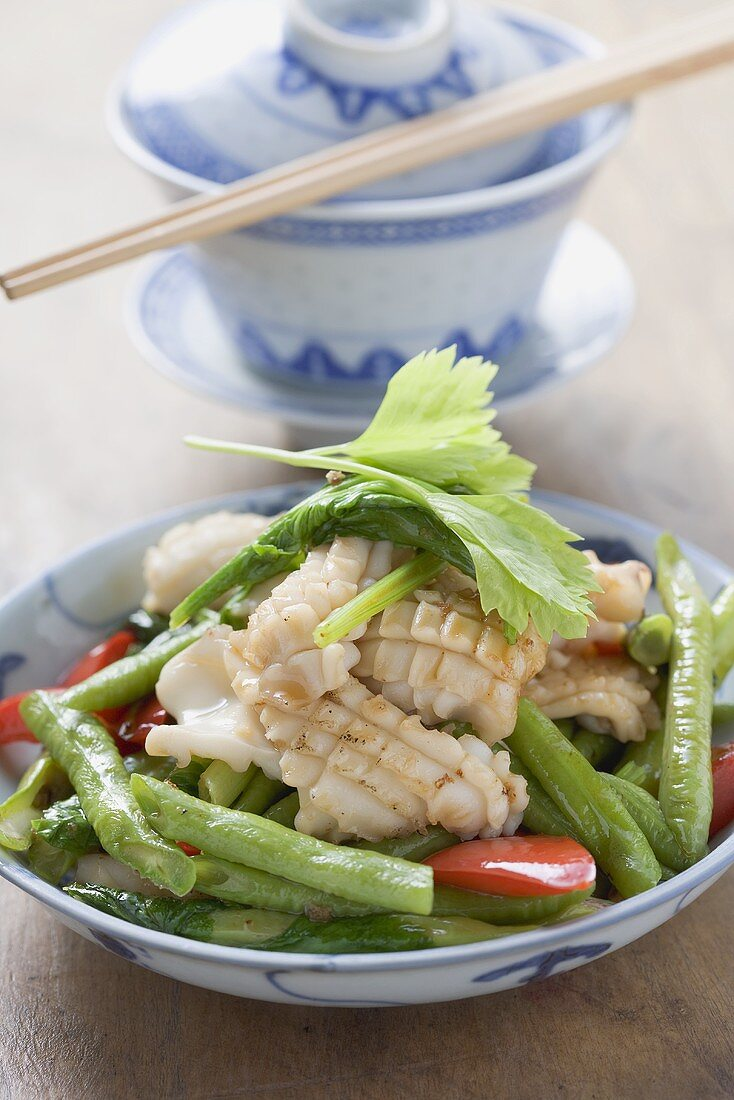 Fried cuttlefish with vegetables & coriander leaves (China)