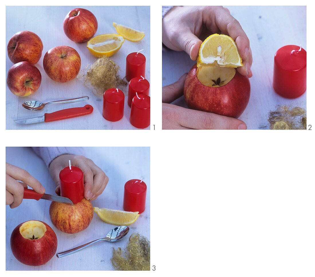 Making apple candle-holders for Advent wreath