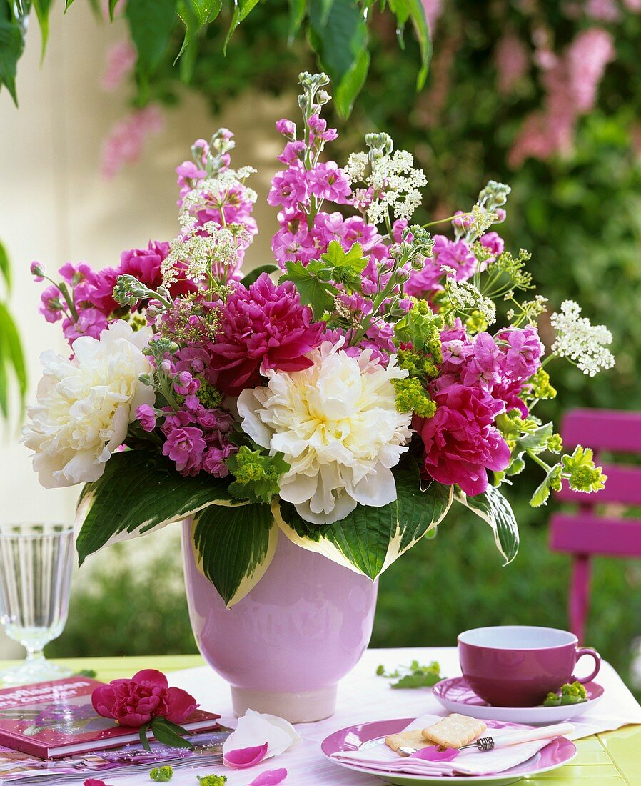 Arrangement of peonies, stocks and lady's mantle
