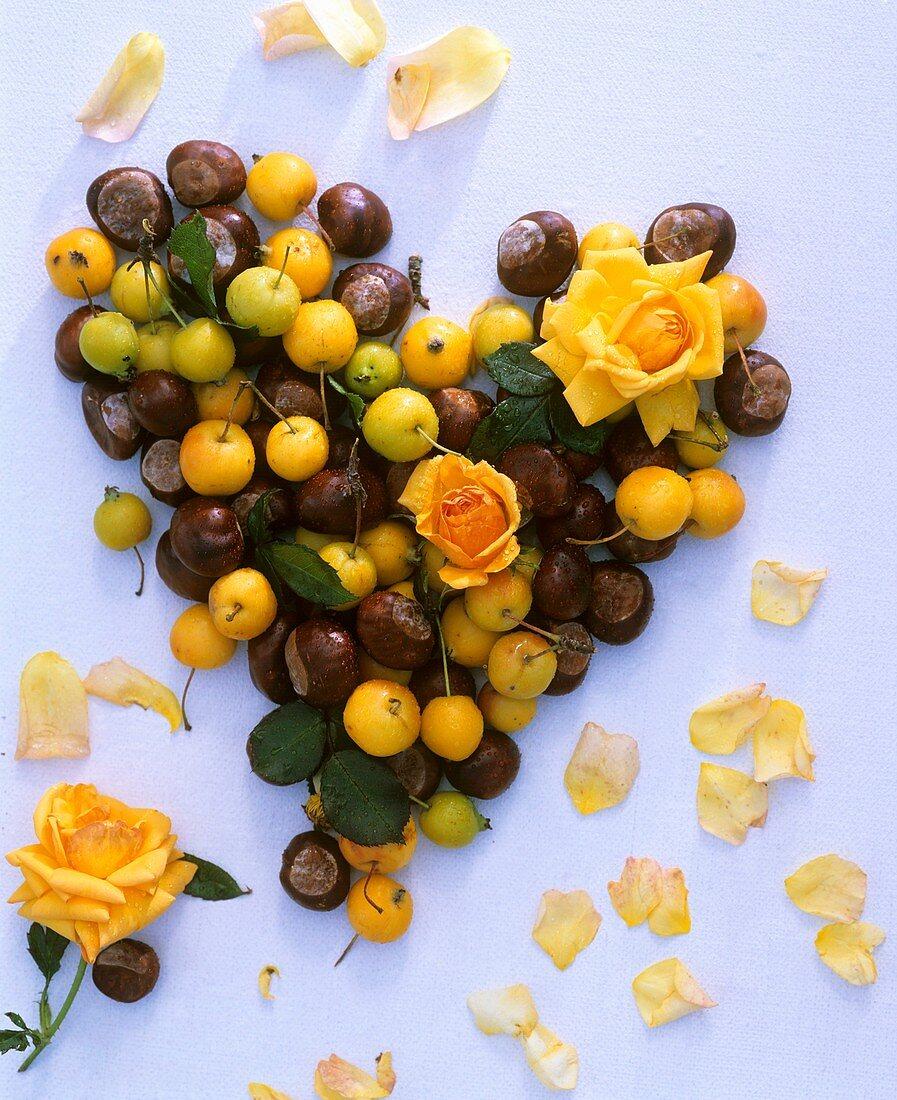 Roses, chestnuts, ornamental apples forming heart, flower petals