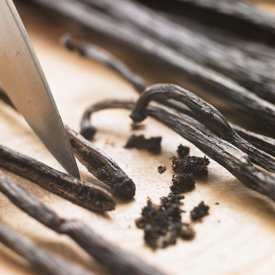 Scraping out vanilla seeds