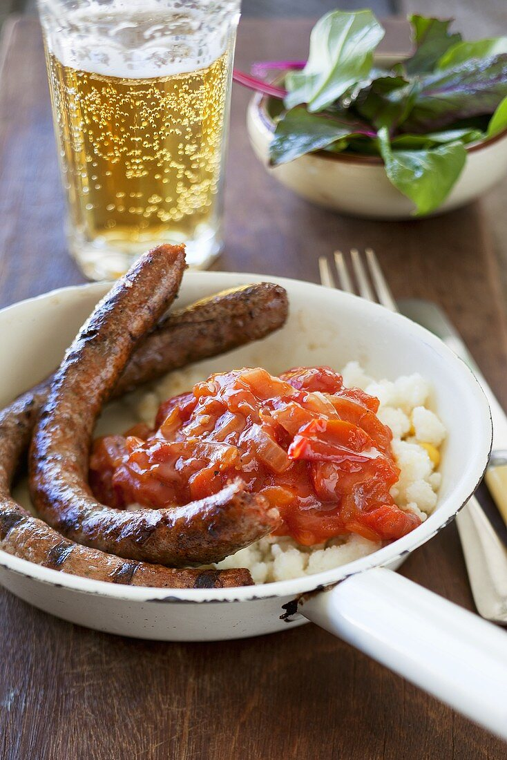 Pap and boerewors (Maize porridge with grilled sausage, South Africa)