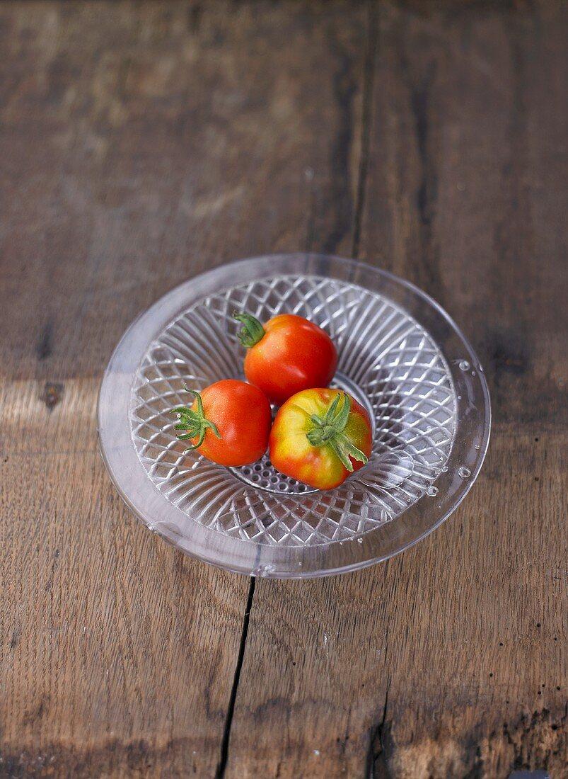 Three tomatoes, variety 'Quedlingburger Liebe'