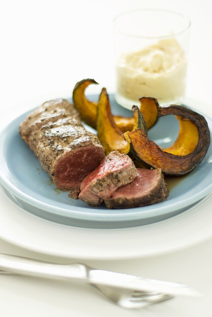Fillet steak with pumpkin