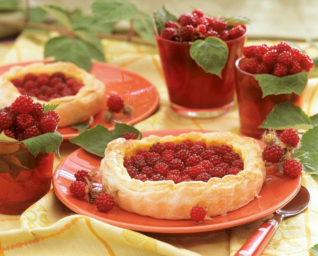 Puff pastry wineberry tart