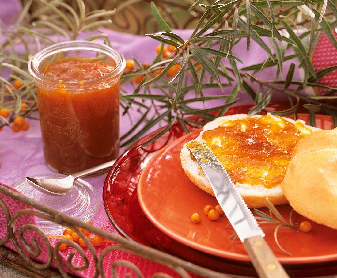 Bread roll with sea buckthorn jam