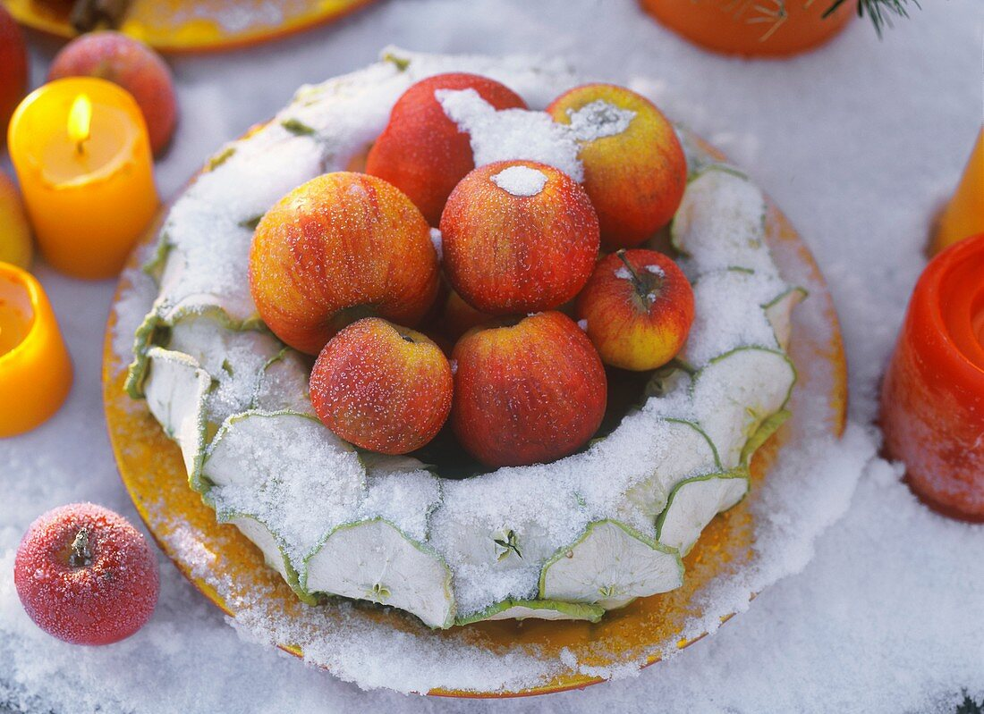 Wreath of dried apple slices with apples in snow