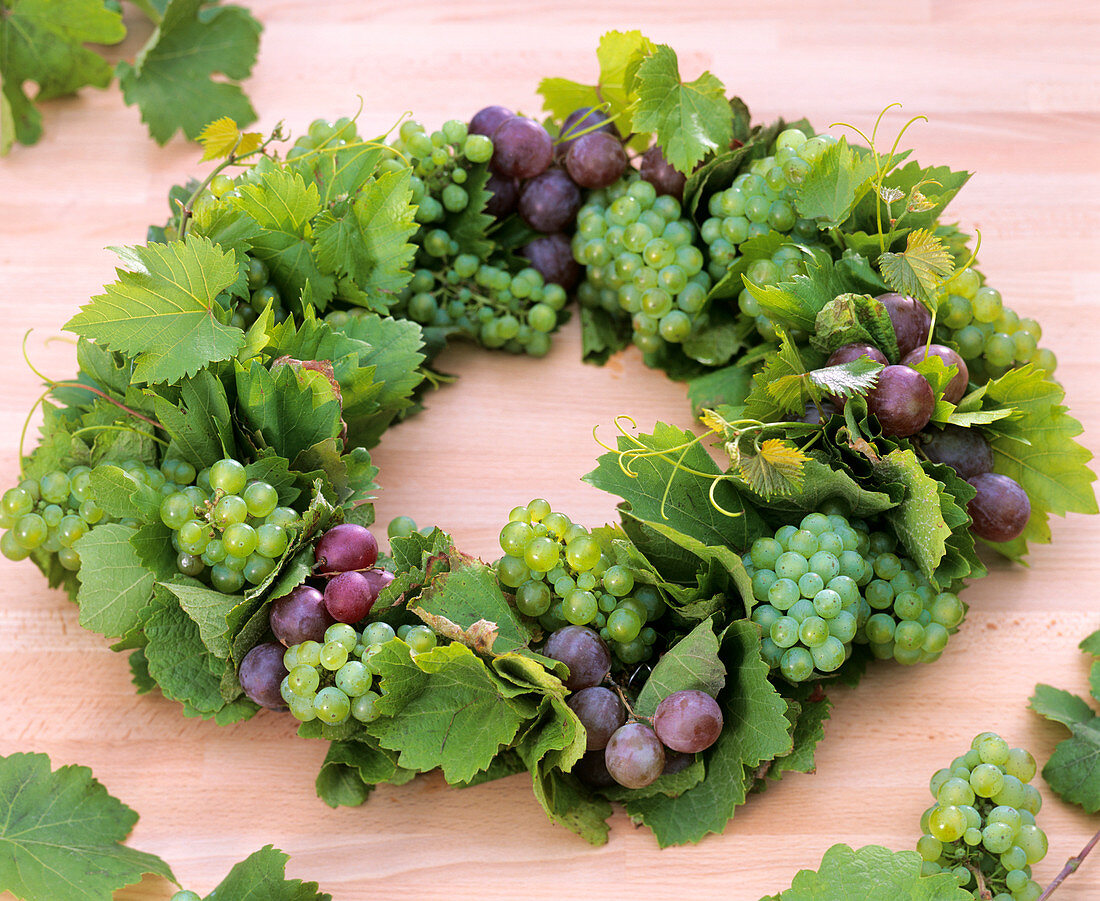 Wreath of grapes and leaves
