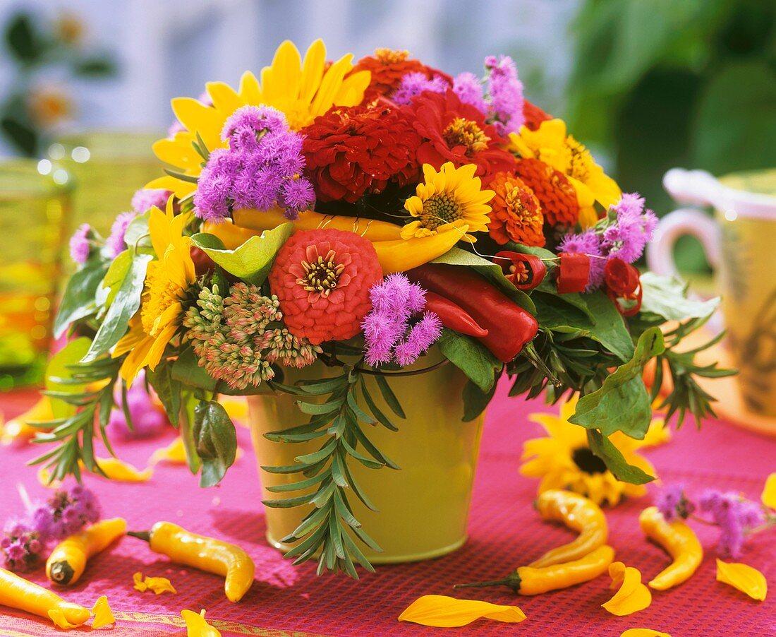 Colourful arrangement of summer flowers