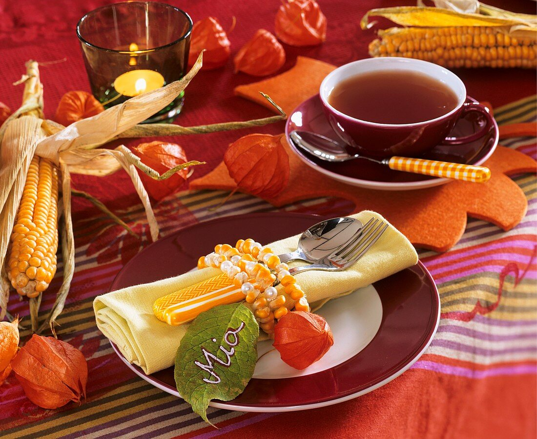 Autumnal place-setting with string of corn around napkin