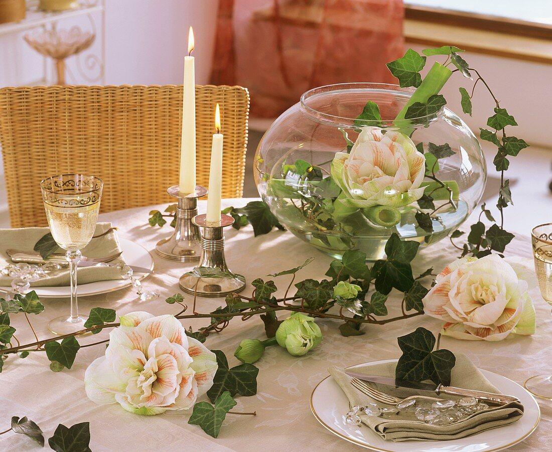 Amaryllis in round glass vase on festive table