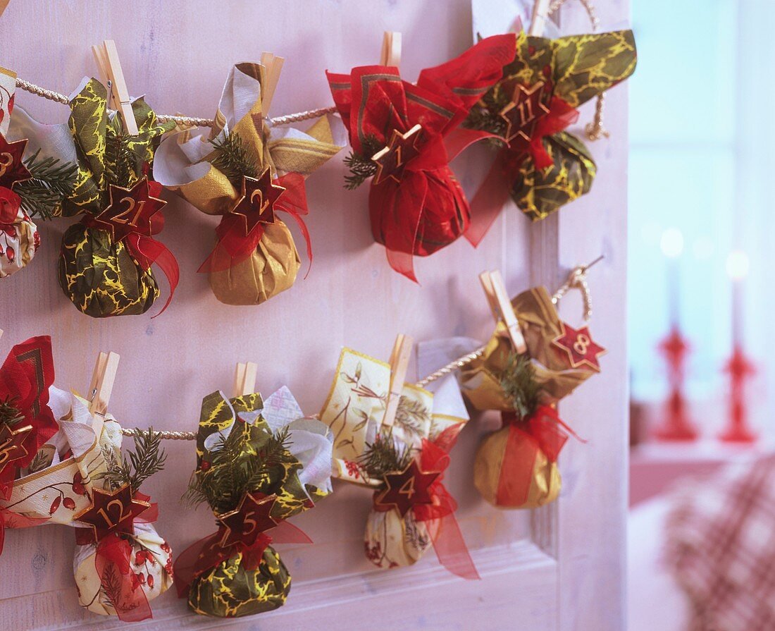 Advent calendar with small bags made from napkins