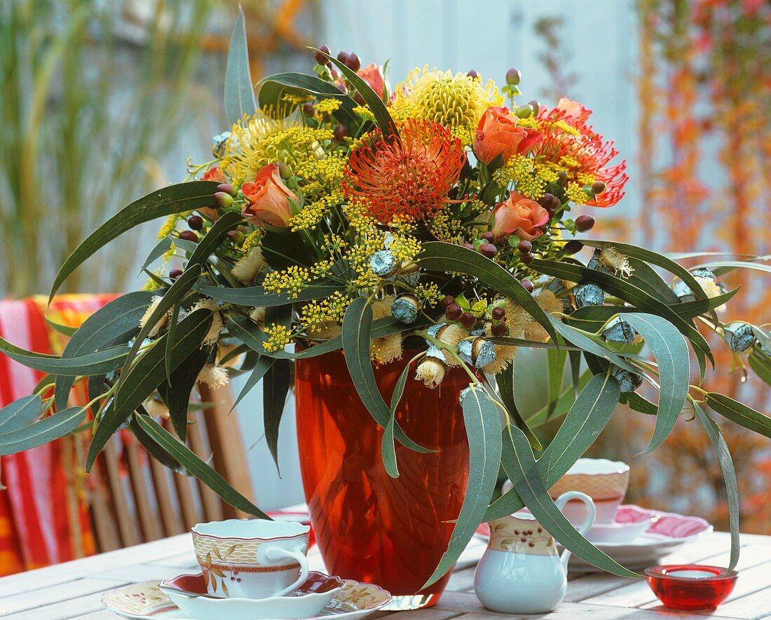 Arrangement of Protea flowers, Eucalyptus, roses & dill