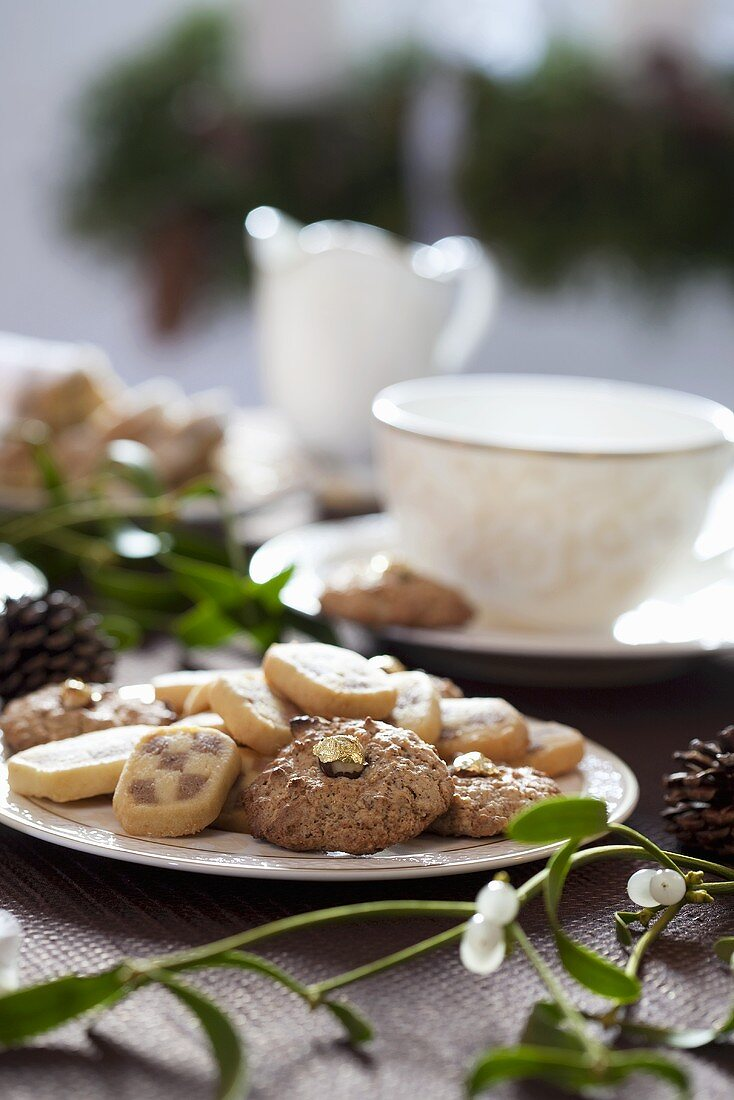 Plate of biscuits with mistletoe