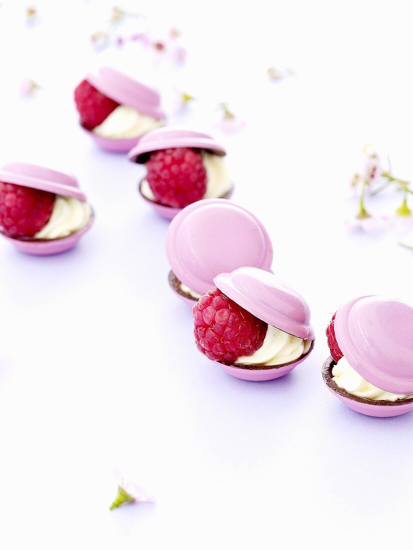 Coques de chocolat with raspberries (France)