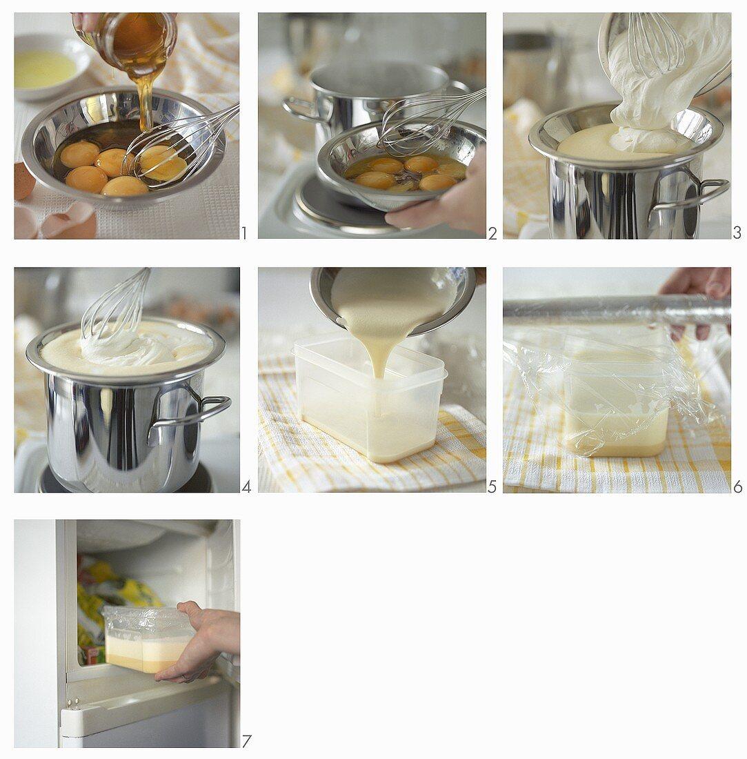 Making honey parfait