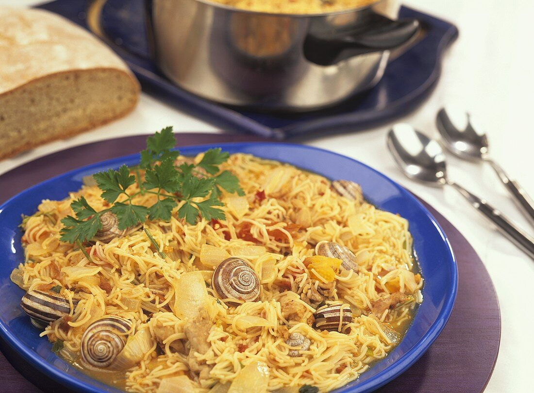 Fideus de vermar (Majorcan noodle dish for Wine Festival)