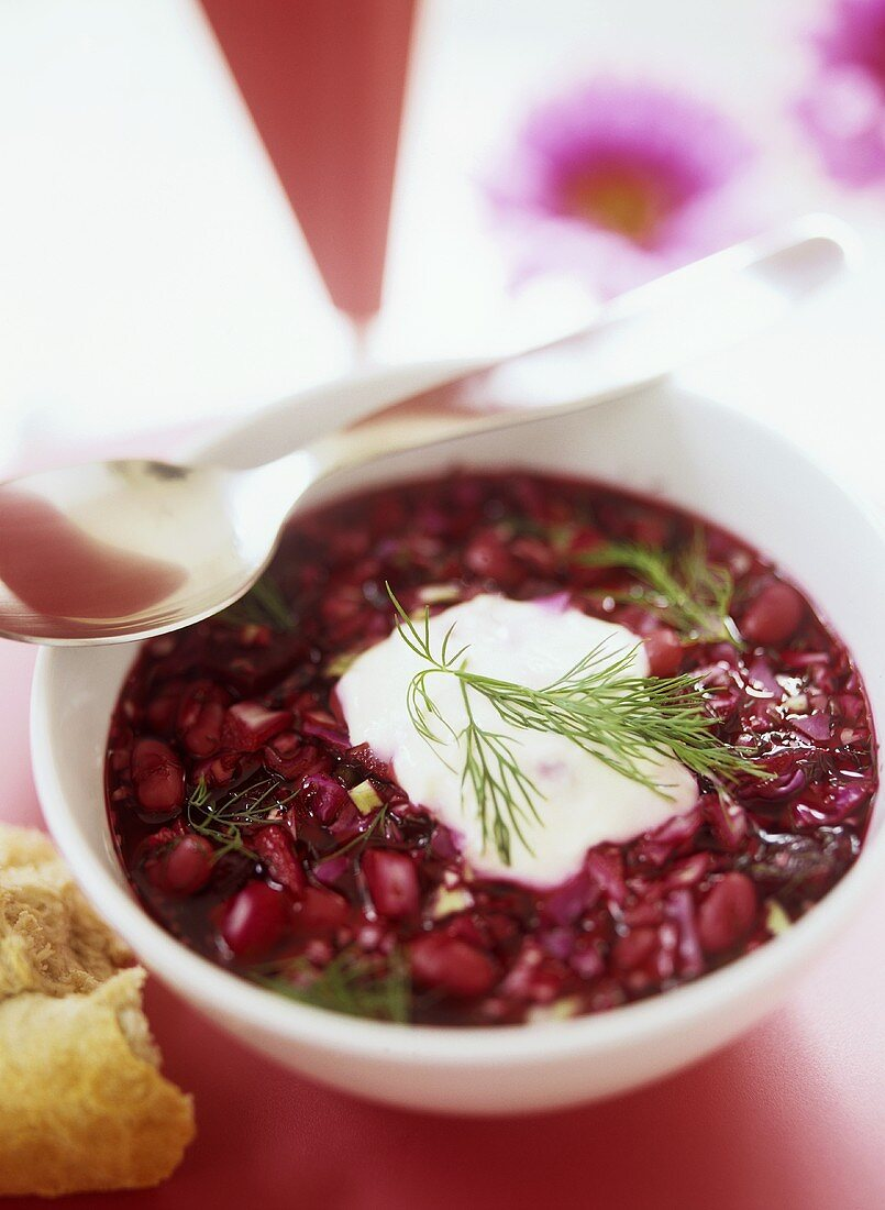 Bortsch (Russian cabbage soup with beetroot)