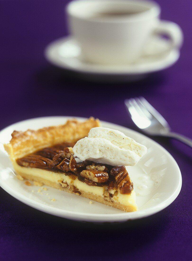 Vanilla pecan pie with ice cream