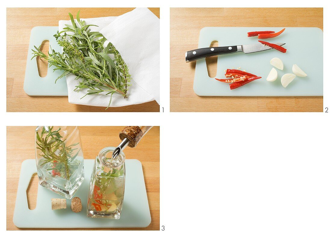 Flavouring oil and vinegar