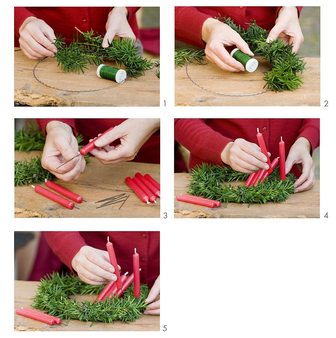 Making a Christmas wreath of yew with red candles