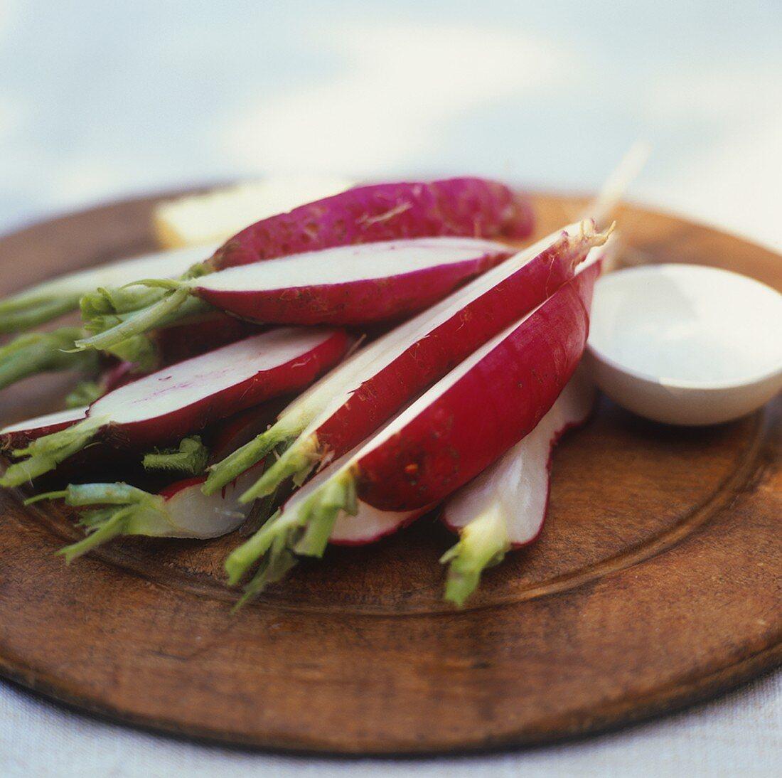Sliced radishes