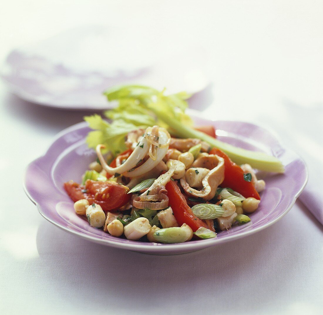 Octopus and chick-pea salad