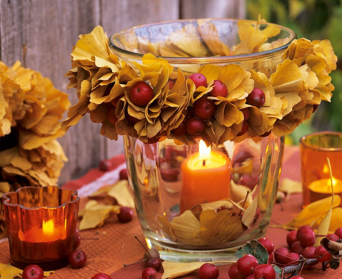 Windlight with wreath of ginkgo autumn leaves & crab apples
