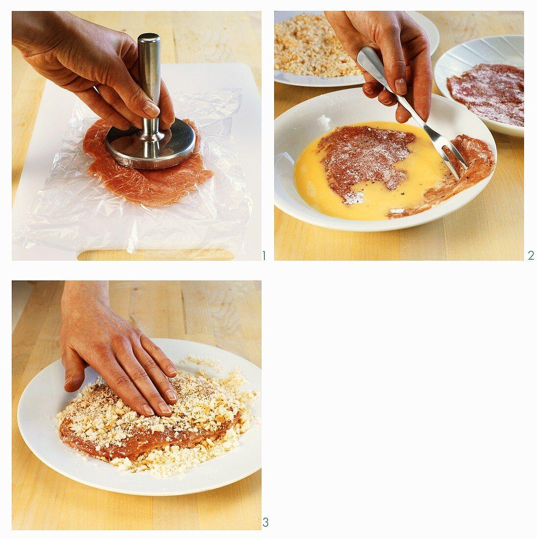 Breading escalopes