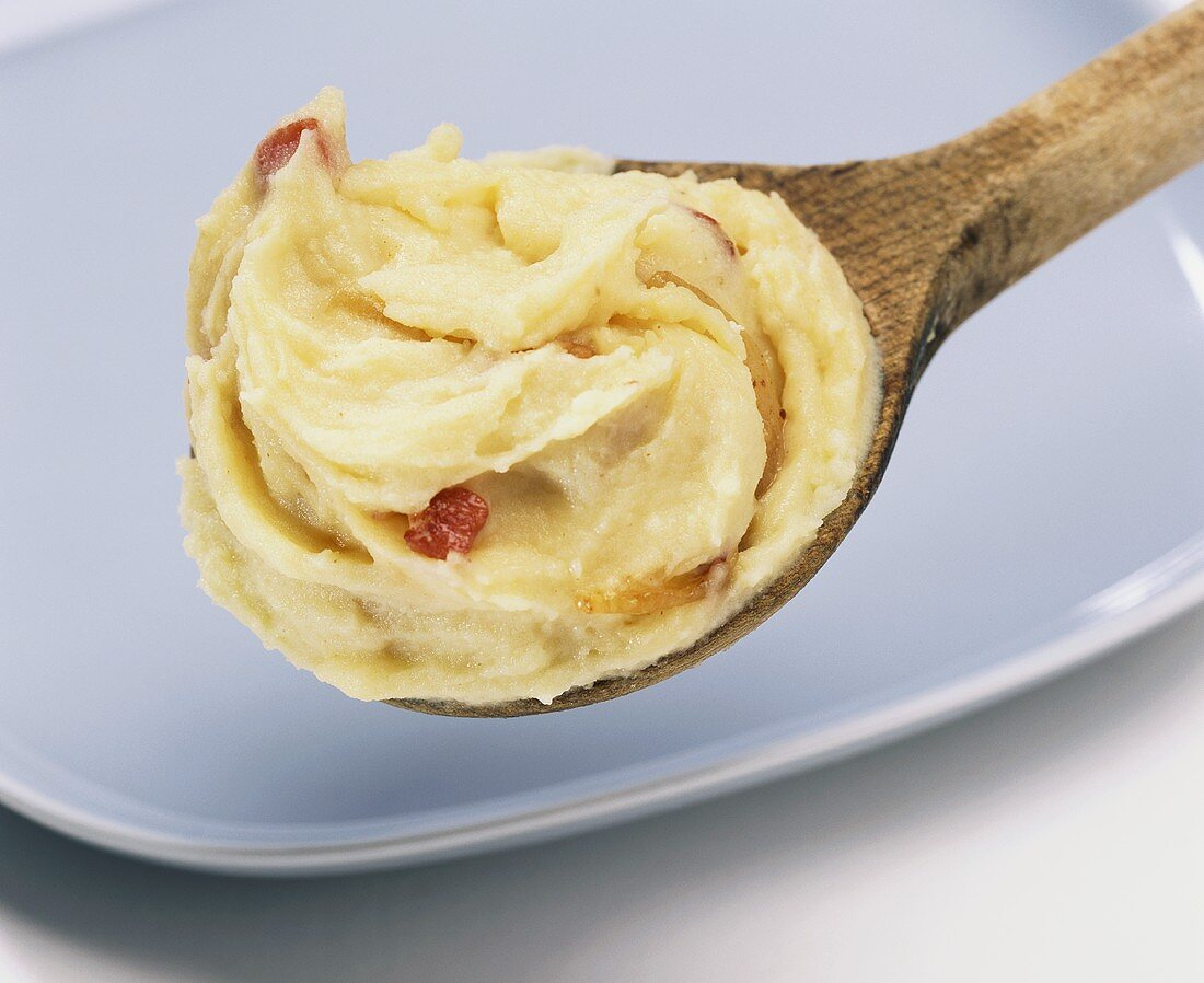 Rustic mashed potato with diced bacon