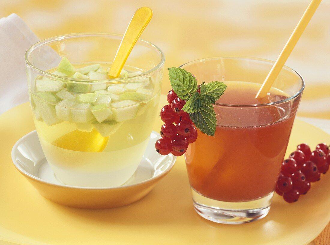 Apple iced tea, redcurrant and peppermint tea