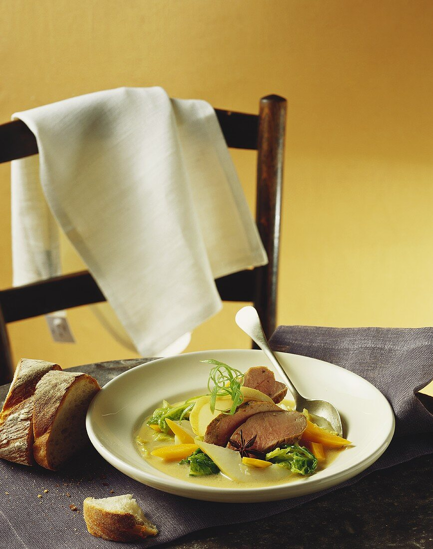 Savoy cabbage soup with pork fillet